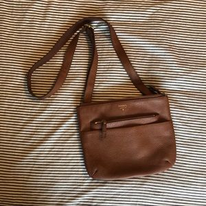 Fossil  Genuine Leather Brown Crossbody Purse